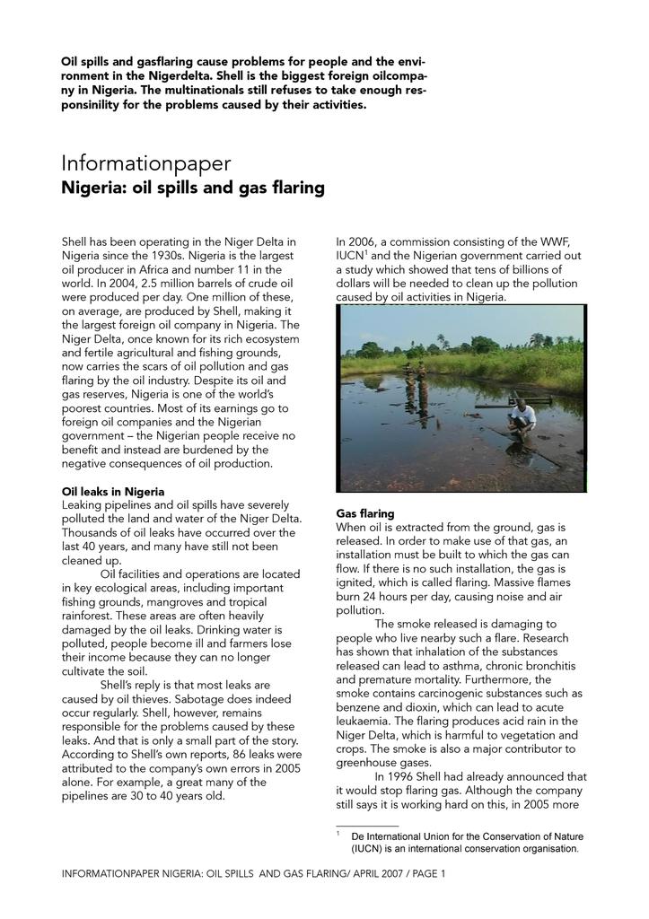 Voorbeeld van de eerste pagina van publicatie 'Informationpaper Nigeria: oil spills and gas flaring'