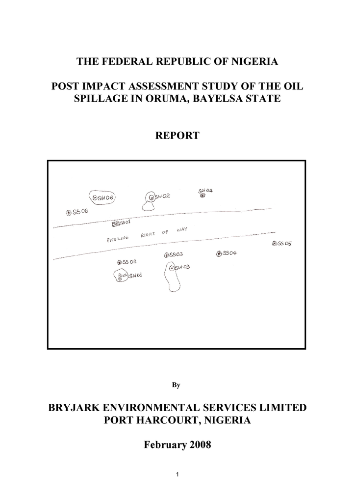 Voorbeeld van de eerste pagina van publicatie 'Post impact assessment study of the oil spillage in Oruma, Bayelsa State'