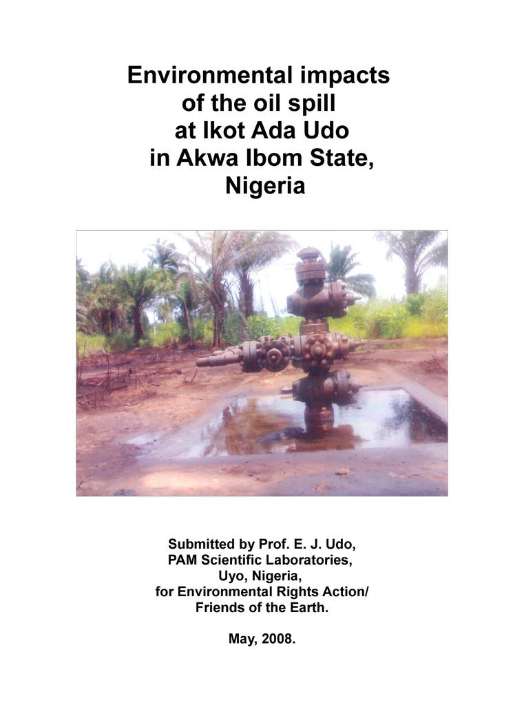 Voorbeeld van de eerste pagina van publicatie 'Environmental impacts of the oil spill at Ikot Ada Udo in Akwa Ibom State, Nigeria'