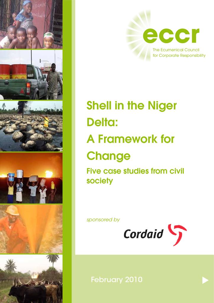 Voorbeeld van de eerste pagina van publicatie 'Shell in the Niger Delta: A Framework for Change'