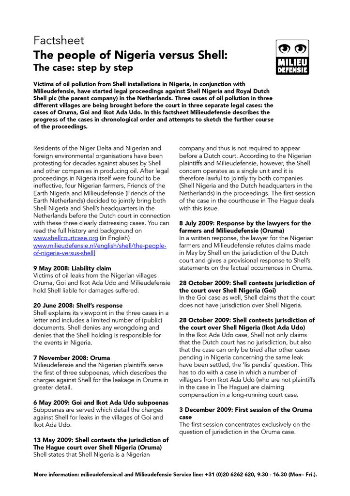 Voorbeeld van de eerste pagina van publicatie 'Factsheet Timeline courtcase Shell'