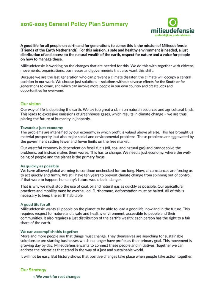 Voorbeeld van de eerste pagina van publicatie 'Summary General Policy Plan 2016 - 2025'