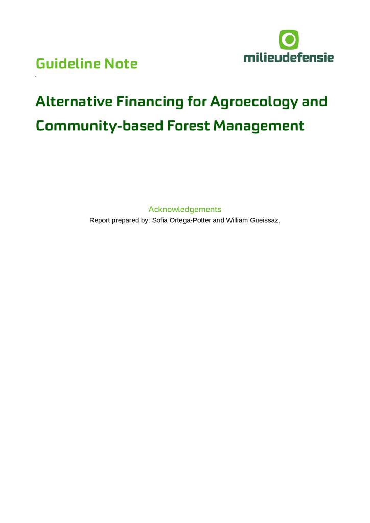 Voorbeeld van de eerste pagina van publicatie 'Guideline Note: Alternative Financing for Agroecology and Community-based Forest Management'