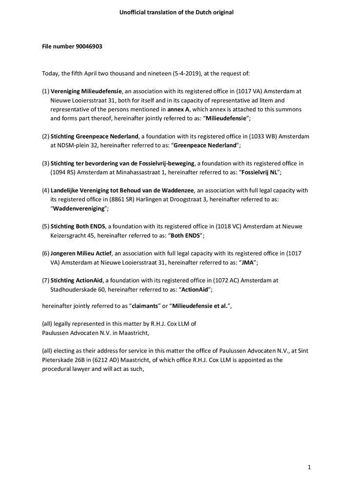Voorbeeld van de eerste pagina van publicatie 'Court Summons Shell'