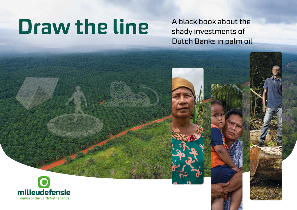 Voorbeeld van de eerste pagina van publicatie 'Draw The Line: A black book about the shady investments of Dutch Banks into palm oil'