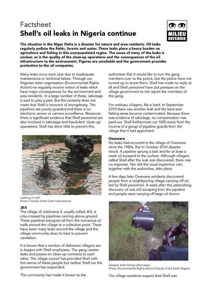Factsheet Shell's oil leaks in Nigeria continue — Milieudefensie