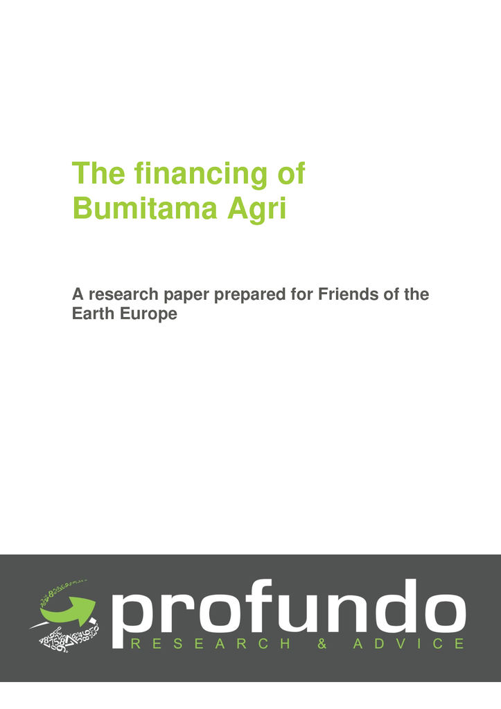 Voorbeeld van de eerste pagina van publicatie 'The financing of Bumitama Agri - A research paper prepared for Friends of the Earth Europe'