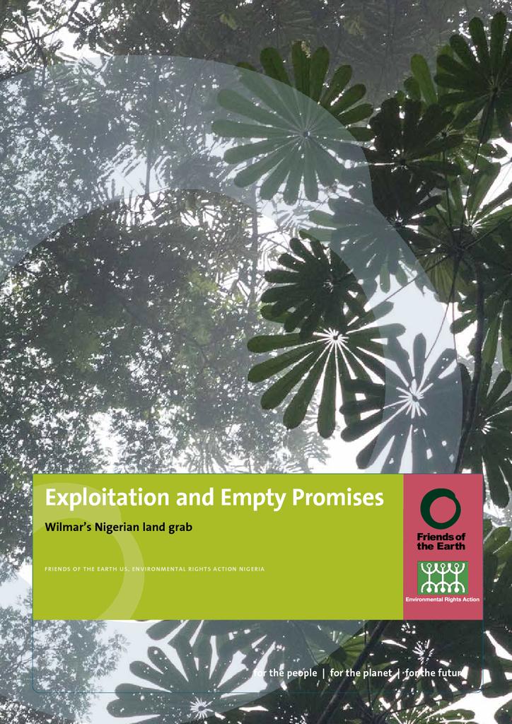 Voorbeeld van de eerste pagina van publicatie 'Exploitation and empty promises - Wilmar's Nigerian land grab'
