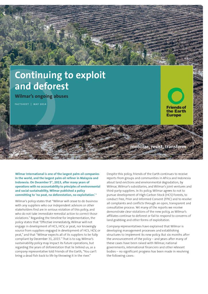 Voorbeeld van de eerste pagina van publicatie 'Wilmar, continuing to exploit and deforest'