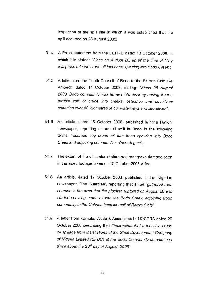 Voorbeeld van de eerste pagina van publicatie 'Courtcase Bodo vs Shell: Amended reply to the amended defence part 2 (page 51-101)'