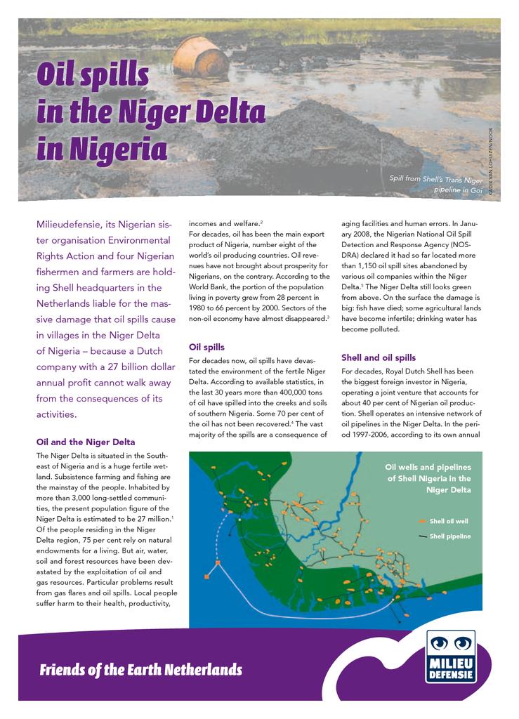 Voorbeeld van de eerste pagina van publicatie 'Oilspills in the Niger Delta'