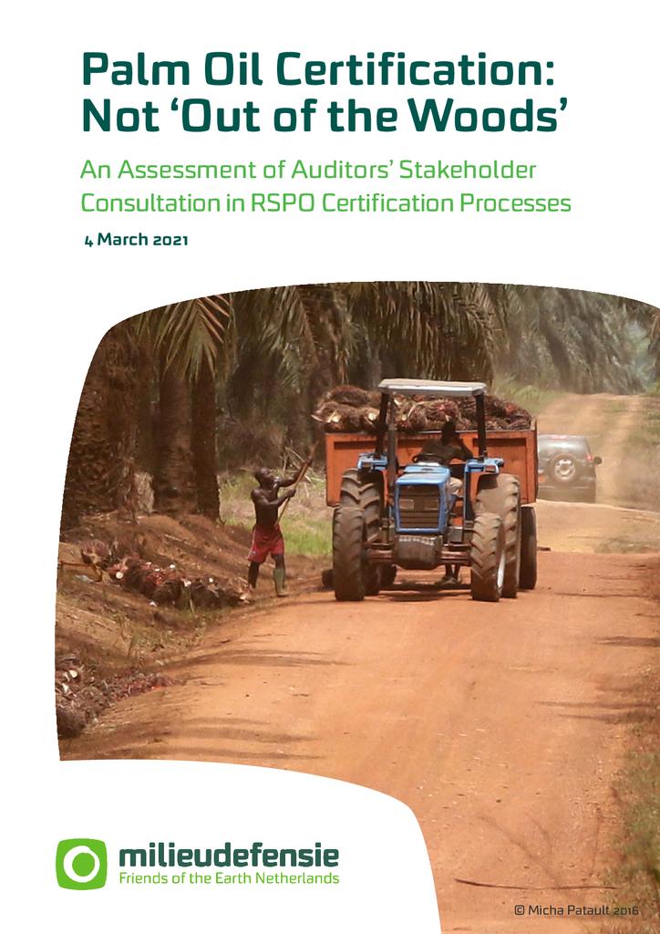 Voorbeeld van de eerste pagina van publicatie 'Palm Oil Certification: Not 'Out of the Woods''