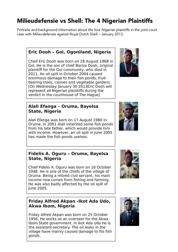 Voorbeeld van de eerste pagina van publicatie 'Factsheet Nigerian Plaintiffs in Shell Court Case'