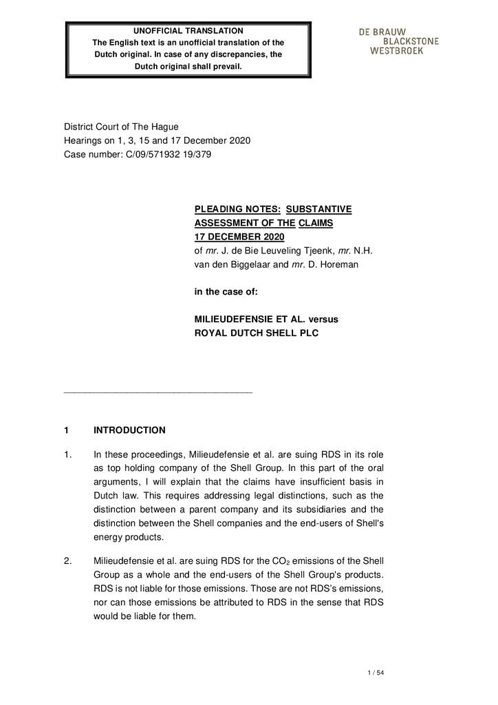 Voorbeeld van de eerste pagina van publicatie 'Pleading notes:  Substantive assessment of the claims'