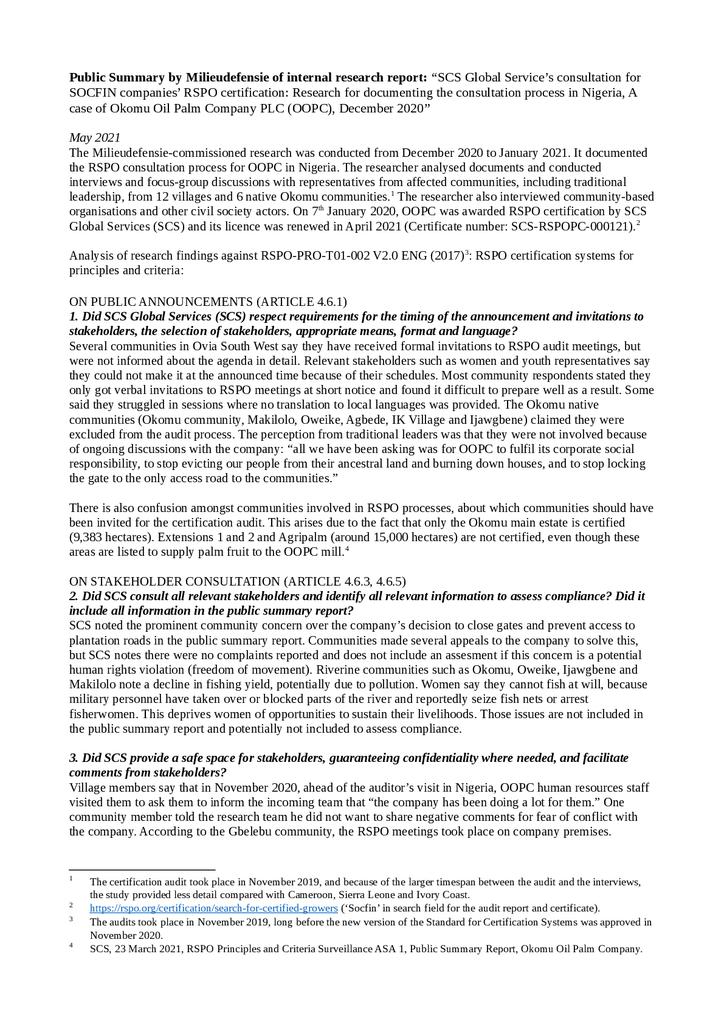 Voorbeeld van de eerste pagina van publicatie 'Summary: Independent Research Report on the Socfin RSPO Certification Process' in Nigeria'