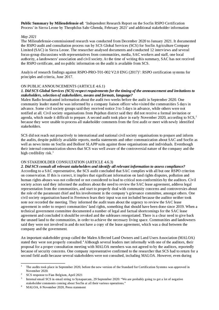 Voorbeeld van de eerste pagina van publicatie 'Summary:  'Independent Research Report on the Socfin RSPO Certification  Process' in Sierra Leone'