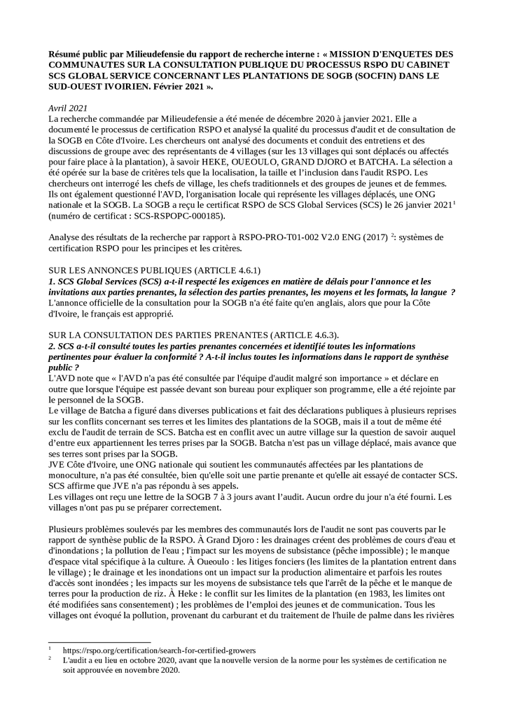 Voorbeeld van de eerste pagina van publicatie 'Summary: Independent Research Report on the Socfin RSPO Certification Process' in Ivory Coast- French version'
