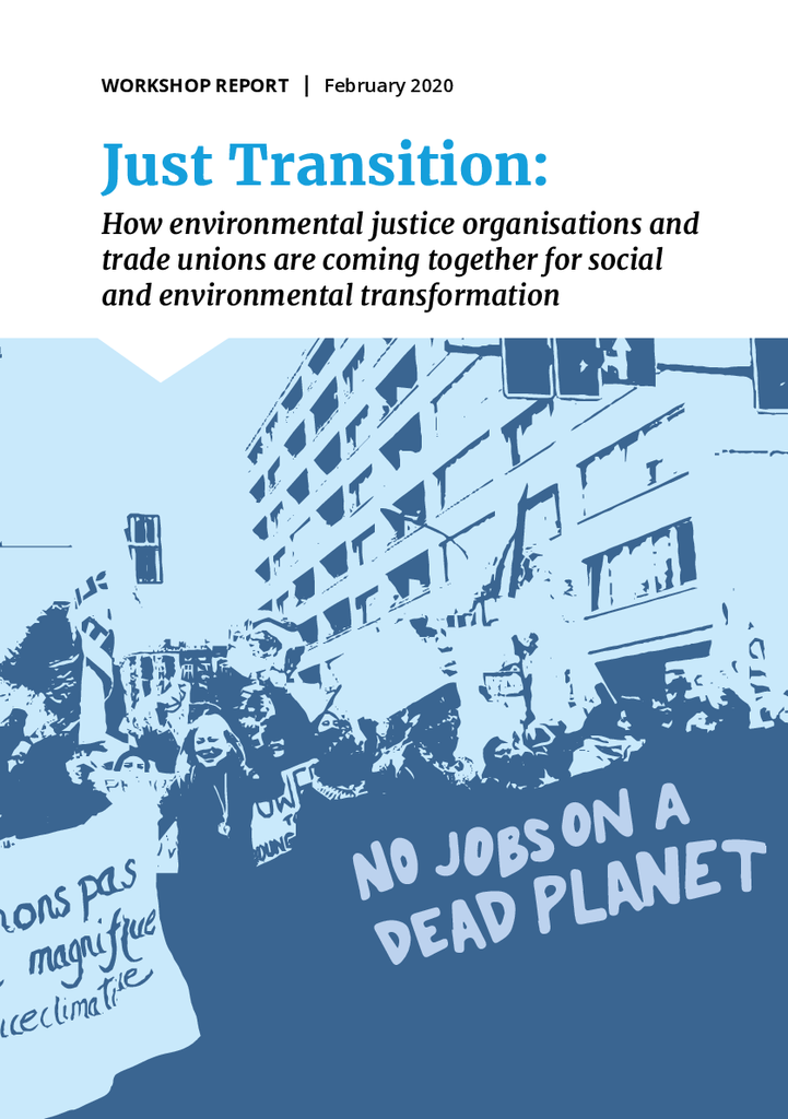 Voorbeeld van de eerste pagina van publicatie 'Just Transition report: how organisations are coming together for social and environmental transformation'