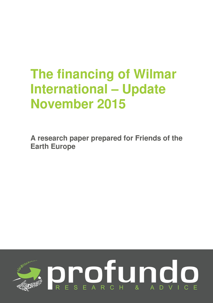 Voorbeeld van de eerste pagina van publicatie 'The financing of Wilmar International - Update November 2015'